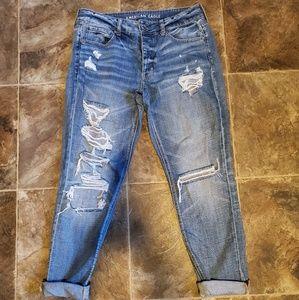 American Eagle Tomgirl Jeans Destroy Wash Size 8